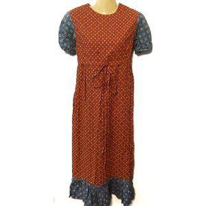 Vintage 60s 70s hippie prairie midi dress